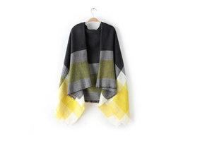 Trendy zachte grijs, gele dames sjaal